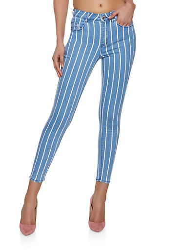 Almost Famous Striped Skinny Jeans,LIGHT WASH,large
