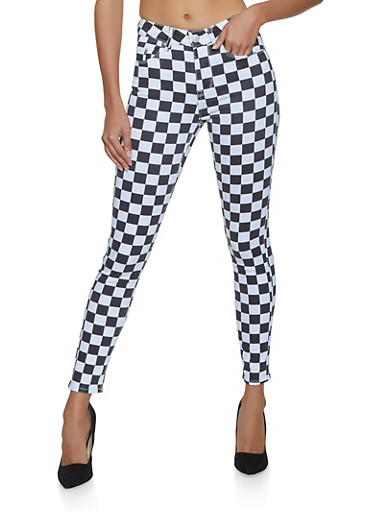 Almost Famous Checkered Jeans,BLACK/WHITE,large