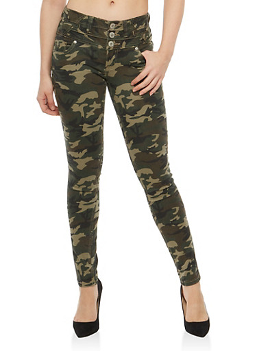 Almost Famous 3 Button Camo Jeans,OLIVE,large