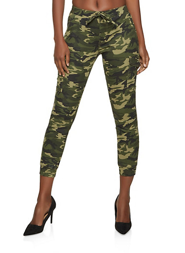 Almost Famous Green Camo Cargo Joggers,GREEN,large