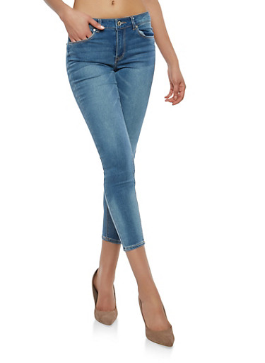 Almost Famous Cropped Whisker Wash Skinny Jeans,MEDIUM WASH,large