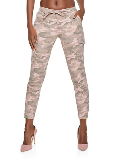 Almost Famous Camo Denim Cargo Joggers,PINK,large