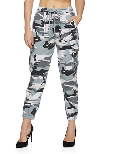 Colored Camo Cargo Joggers,GRAY,large