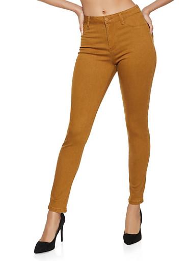 Basic Twill Skinny Pants,KHAKI,large