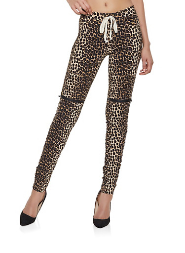 Leopard Ruched Moto Jeggings,BROWN,large