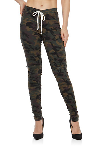 Camo Ruched Moto Jeggings,CAMOUFLAGE,large