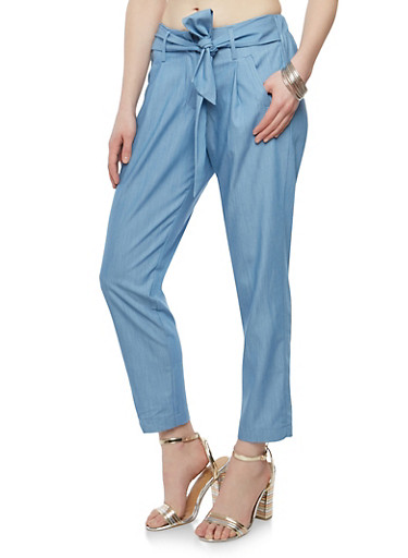 Belted Dress Pants,LIGHT WASH,large