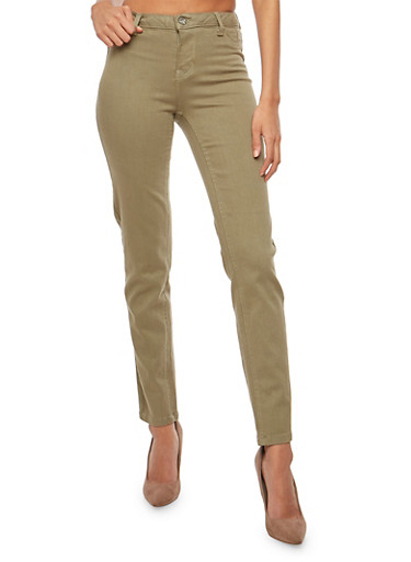 Basic Push Up Jeans,OLIVE,large