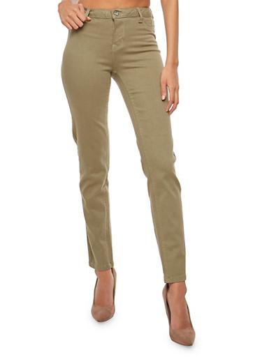 Basic Push Up Jeans,OLIVE,large