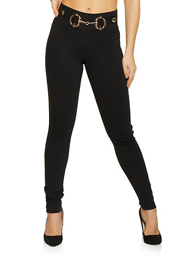 Metallic Waist Detail Pants,BLACK,large