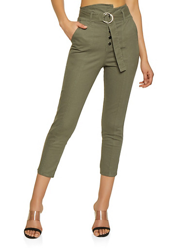 High Waisted Belted Pants,OLIVE,large