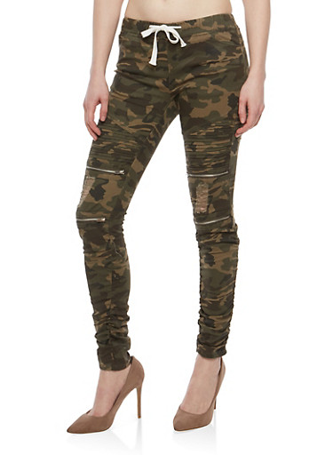 Ruched Camo Frayed Jeggings | Tuggl