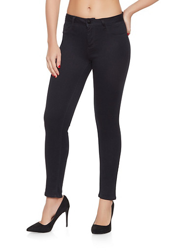 Cello Solid Skinny Jeans,BLACK,large