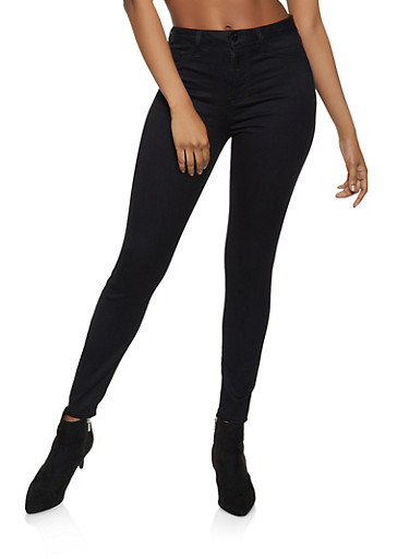 Cello Solid High Waisted Jeans,BLACK,large