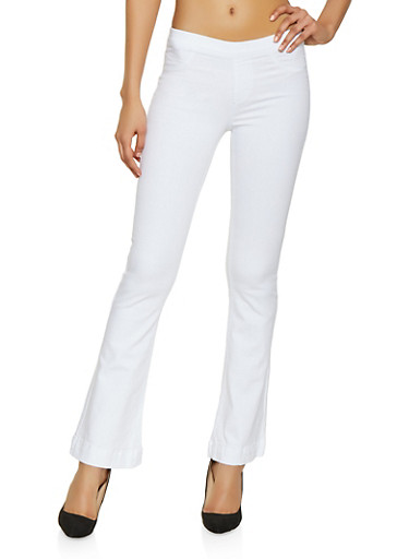 Cello Pull On Flared Jeans | White,WHITE,large