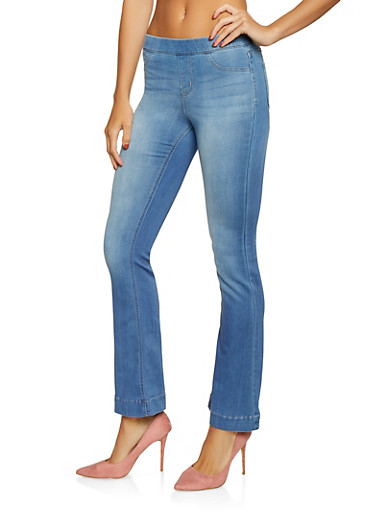 Cello Flared Pull On Jeans,MEDIUM WASH,large