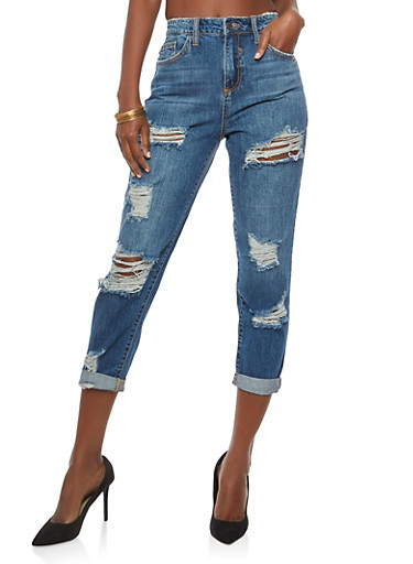 Cello High Waisted Regret Nothing Destroyed Jeans,DARK WASH,large