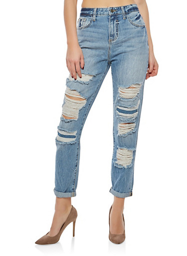 Cello High Waisted Destroyed Roll Cuff Jeans,MEDIUM WASH,large