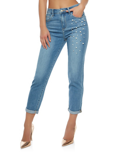 Cello Faux Pearl Studded Jeans,MEDIUM WASH,large