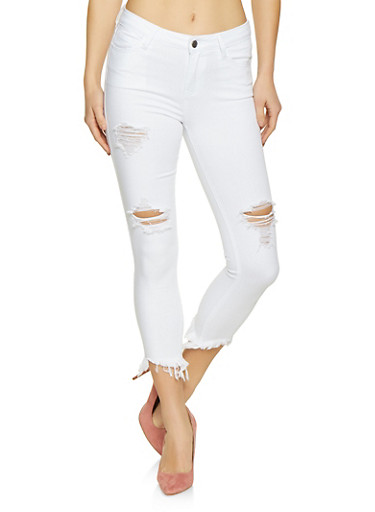 Cello Cropped Frayed Jeans,WHITE,large
