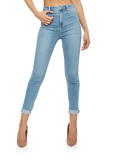 Cello High Waisted Skinny Jeans,MEDIUM WASH,large