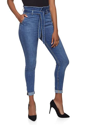 Cello Paper Bag Waist Jeans,MEDIUM WASH,large