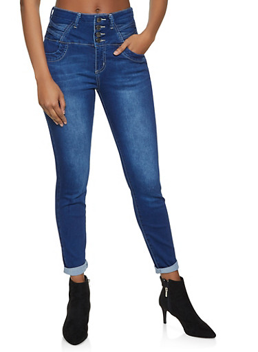 Cello Caged High Waisted Jeans,DARK WASH,large