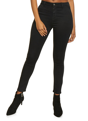 Twill Skinny Pants,BLACK,large