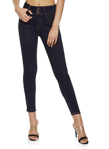 Cello 3 Button Push Up Jeans,DARK WASH,large