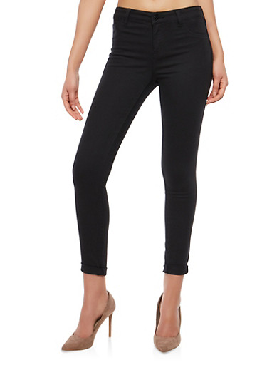 Cello Colored Skinny Jeans,BLACK,large