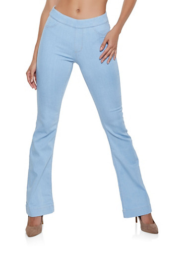 Cello Pull On Flared Jeans | Light Wash,LIGHT WASH,large