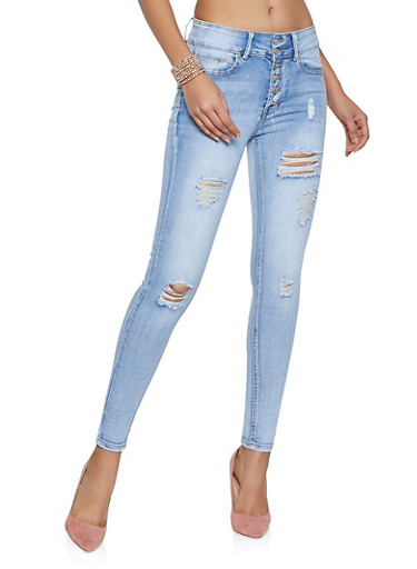 Distressed Whiskered Skinny Jeans,WHITE/BLUE,large