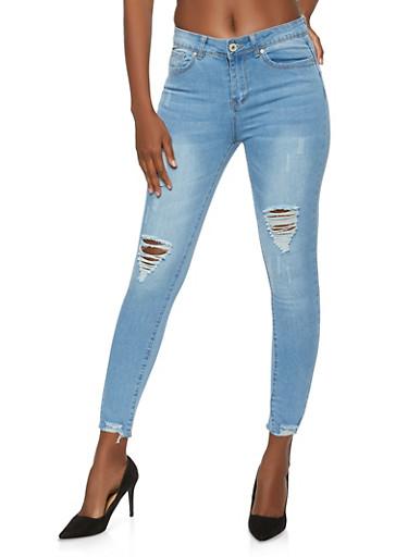 Raw Hem Push Up Skinny Jeans,DENIM,large