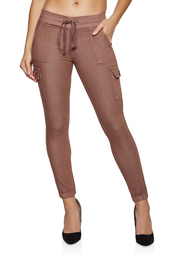 Twill Cargo Joggers | 1074065300022,BROWN,large