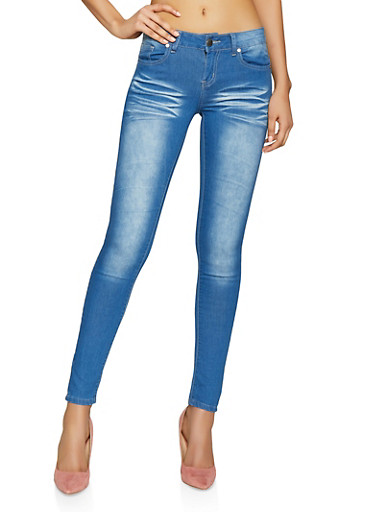 VIP Push Up Skinny Jeans with Whiskering and Stretch,DENIM,large