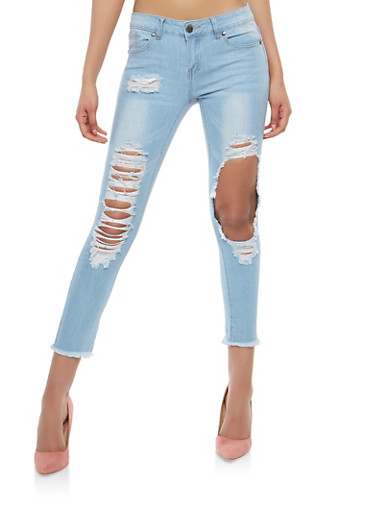 VIP Ripped Skinny Jeans,LIGHT WASH,large