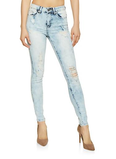 VIP Distressed Acid Wash Skinny Jeans,LIGHT WASH,large