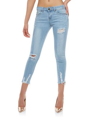 VIP Faux Pearl Embellished Skinny Jeans,LIGHT WASH,large