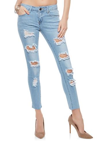 VIP Destruction Skinny Jeans,LIGHT WASH,large
