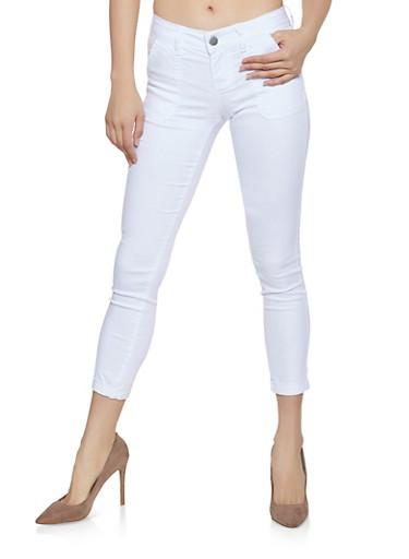 Cropped Skinny Pants,WHITE,large