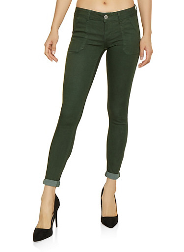 Colored Roll Cuff Pants,GREEN,large