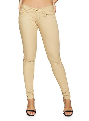 VIP Khaki Push Up Skinny Jeans,KHAKI,large