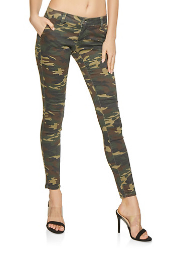 VIP Camo Skinny Jeans,OLIVE,large