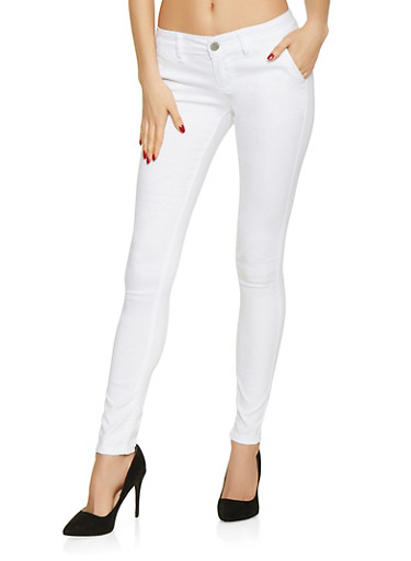 Solid Skinny Chinos,WHITE,large