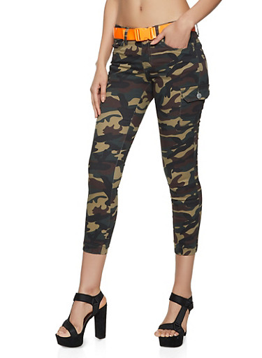 VIP Camo Belted Cargo Joggers,OLIVE,large