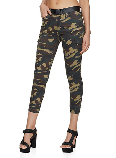 VIP Belted Camo Cargo Joggers,OLIVE,large