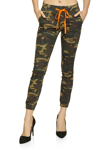Camo Contrast Drawstring Joggers,OLIVE,large