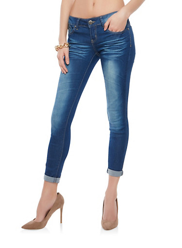 VIP Whisker Wash Skinny Jeans,MEDIUM WASH,large