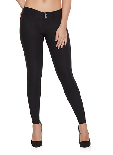Black 2 Button Push Up Jeggings,BLACK,large