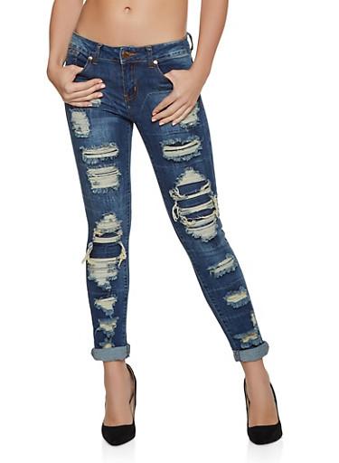 VIP Patch and Repair Skinny Jeans,DENIM,large